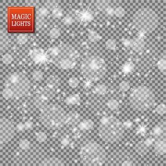 Conjunto de efectos de luces brillantes doradas aisladas sobre fondo transparente.