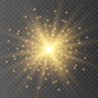 Conjunto de efectos de luces brillantes dorados aislados. destello del sol con rayos y reflector. el efecto de resplandor. la estrella estalló en brillo.