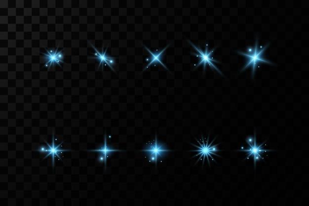 Conjunto de efectos de luz azul. luz mágica de neón, vector iluminado.