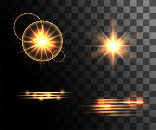 Conjunto de efectos de luz dorada, anillos de luz brillantes con decoración de partículas en la página del sitio web de fondo transparente y la aplicación móvil