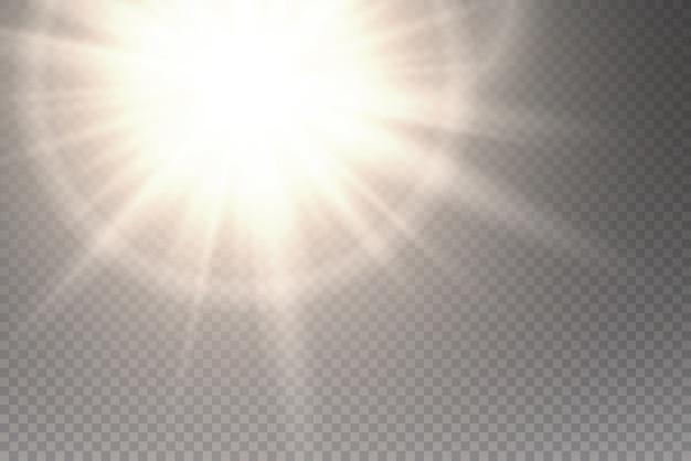 Conjunto de efectos de luz transparente blanco resplandor aislado, destello de lente, explosión, brillo, línea, flash solar, chispa y estrellas. diseño abstracto del elemento del efecto especial. rayo brillante con rayos