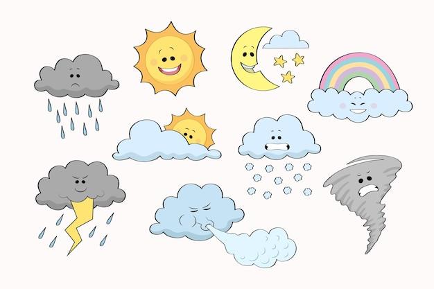 Conjunto de efectos meteorológicos dibujados a mano
