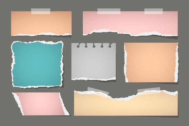 Conjunto de efectos de papel rasgado realista