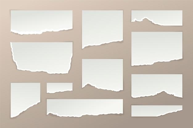 Conjunto de efectos de papel rasgado