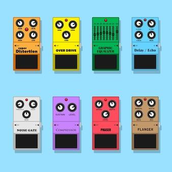 Conjunto de efectos de pedales de guitarra: distorsión, overdrive, ecualizador, retardo, ruido, compresor, phaser y flanger, ilustración de estilo