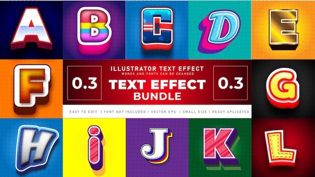 Conjunto de efectos de texto de caramelo colorido