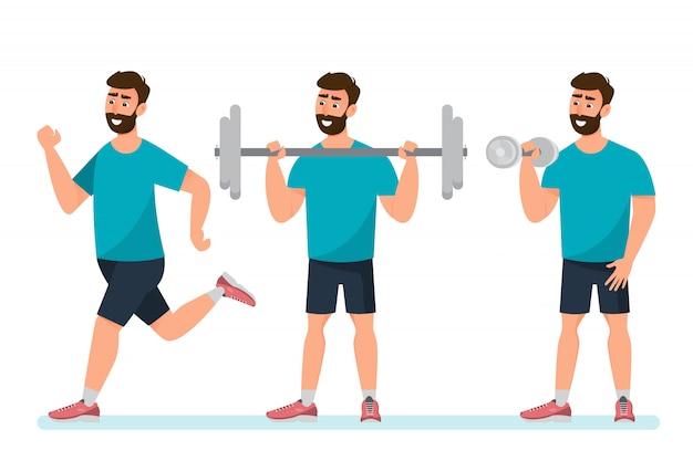 Conjunto de ejercicio de hombre en el gimnasio en un blanco