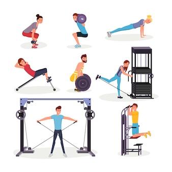 Conjunto de ejercicios deportivos planos