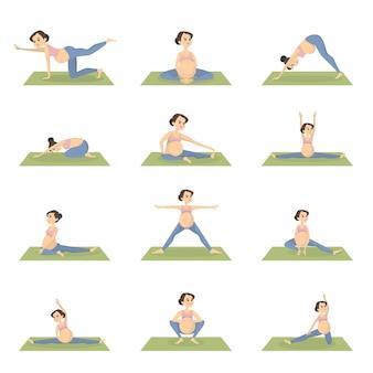 Conjunto de ejercicios de embarazadas. entrenamiento con equipamiento deportivo.