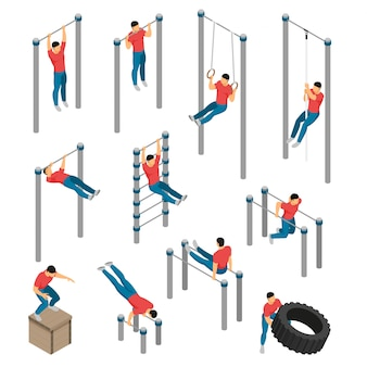Conjunto de ejercicios isométricos para equipos de gimnasia con imágenes de aparatos de gimnasia y personajes humanos masculinos que hacen deporte