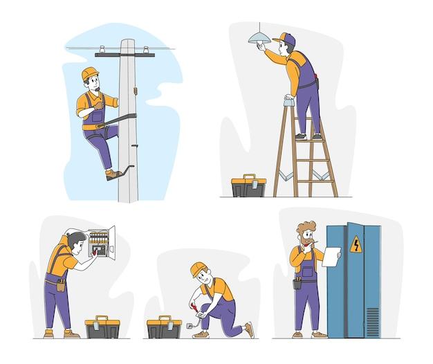 Conjunto de electricistas en el trabajo.