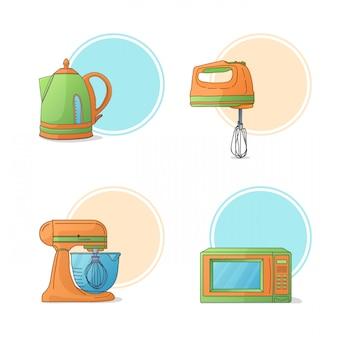 Un conjunto de electrodomésticos de cocina. electrodomésticos de cocina en estilo de dibujos animados.