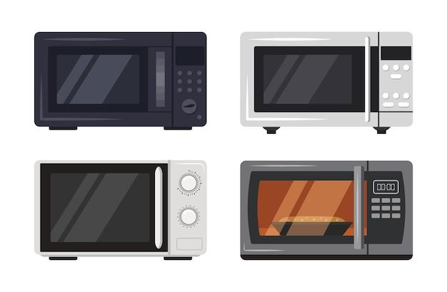 Conjunto de electrodomésticos de cocina de horno microondas con cocción de alimentos detrás de un vidrio