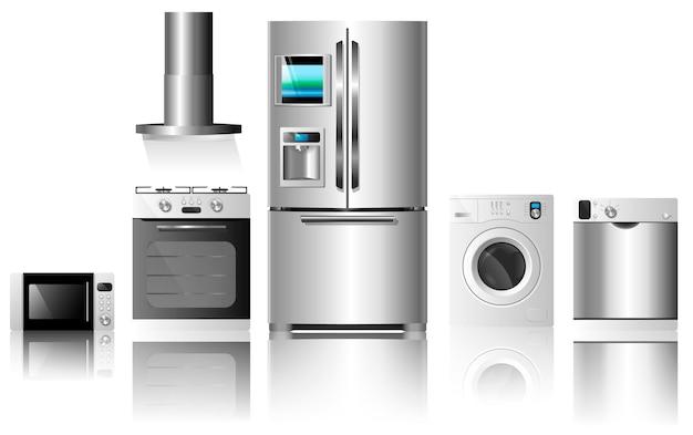 Conjunto de electrodomésticos de cocina ilustración vectorial aislado sobre fondo blanco.