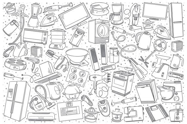 Conjunto de electrodomésticos dibujados a mano