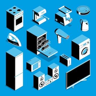 Conjunto de electrodomésticos isométricos.
