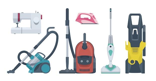 Conjunto de electrodomésticos planos. aspiradora, máquina de coser, plancha. ilustración. colección