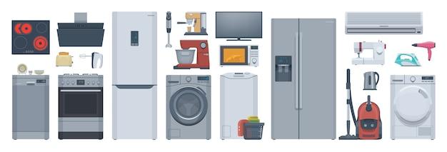 Conjunto de electrodomésticos planos. refrigerador, lavadora, estufa y otros. ilustración. colección
