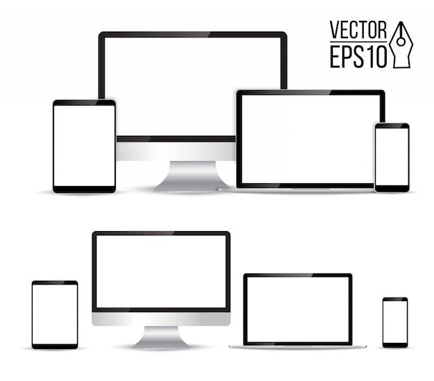 Conjunto electrónico realista de monitor, computadora portátil, tableta, teléfono inteligente - ilustración de stock
