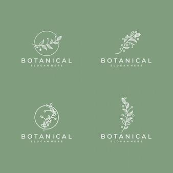 Conjunto de elegante arte de línea botánica, símbolo de diseño de logotipo de belleza, salud y naturaleza
