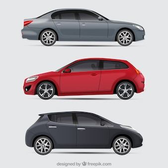 Conjunto elegante de coches moderno