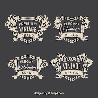 Conjunto elegante de insignias vintage