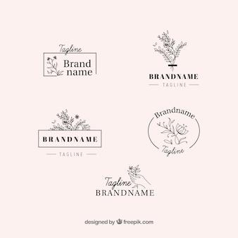 Conjunto elegante de logos florales