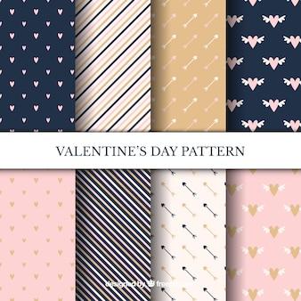 Conjunto elegante de patrones de san valentin