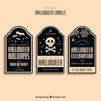 Conjunto elegante de etiquetas de halloween