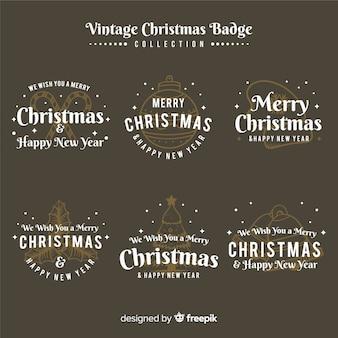 Conjunto elegante de etiquetas de navidad con estilo vintage