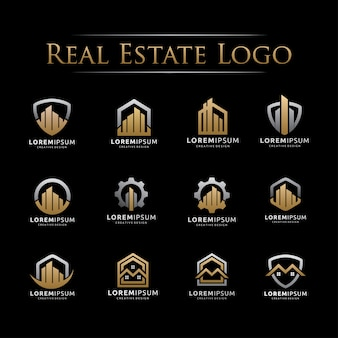 Conjunto de elegante logotipo de bienes raíces
