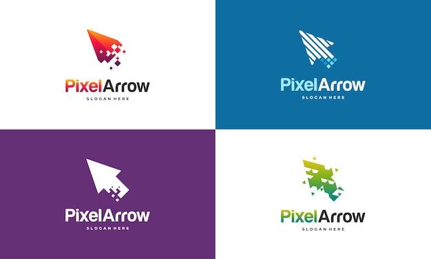 Conjunto de elegante plantilla de logotipo pixel arrow, concepto de diseños de logotipo fast cursor, plantilla de logotipo pixel cursor