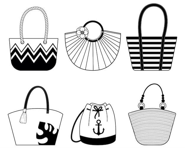 Conjunto de elegantes bolsos de playa con asas de cuero y cuerda.