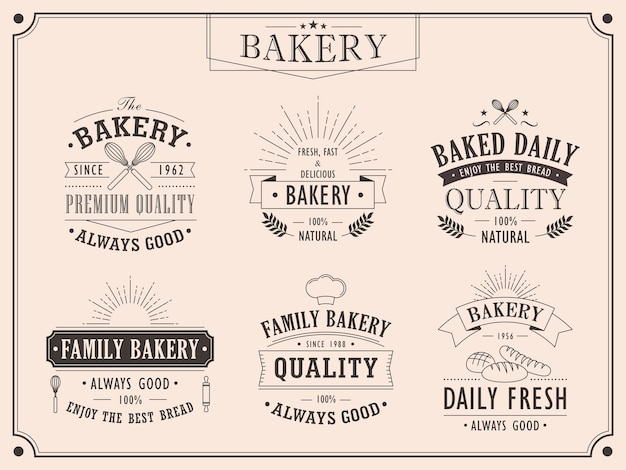 Conjunto de elegantes colecciones de emblemas vintage de panadería.