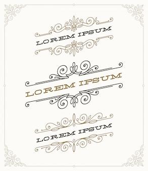 Conjunto de elegantes emblemas ornamentales vintage y plantillas de logotipos.