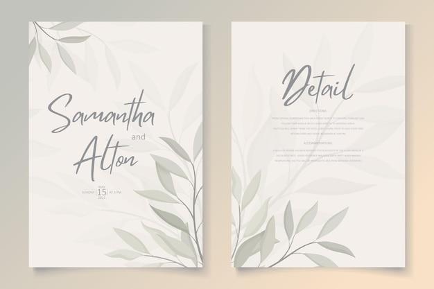 Conjunto de elegantes invitaciones de boda florales.