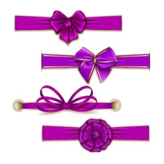 Conjunto de elegantes lazos de color seda.