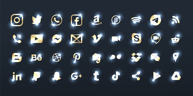 Conjunto de elegantes logotipos de redes sociales de bronce.