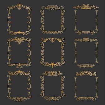 Conjunto de elegantes marcos dorados