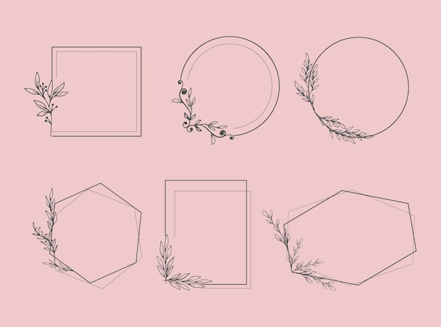 Conjunto de elegantes marcos con plantas y hojas.