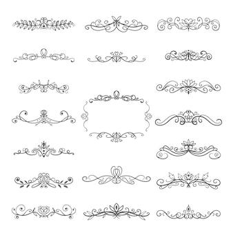 Conjunto de elegantes separadores dibujados a mano