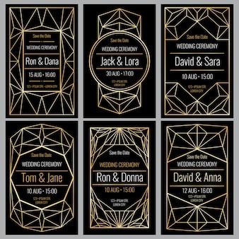 Conjunto de elegantes tarjetas de invitación de boda con marcos geométricos dorados de diamantes