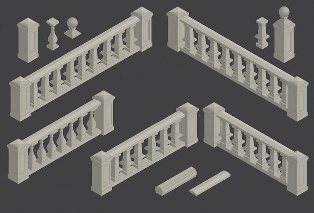 Conjunto de elemento arquitectónico balaustrada, vector