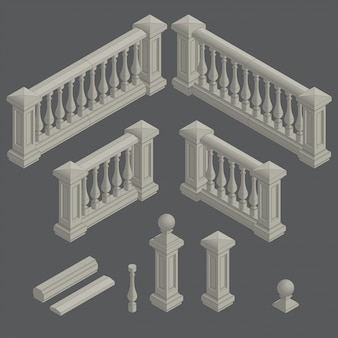 Conjunto de elemento arquitectónico balaustrada.