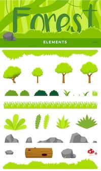 Un conjunto de elemento de bosque