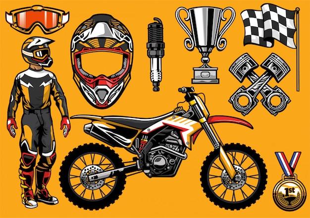 Conjunto de elemento de carreras de motocross altamente detallado