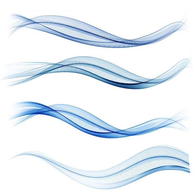 Conjunto de elemento de diseño de onda abstracta azul