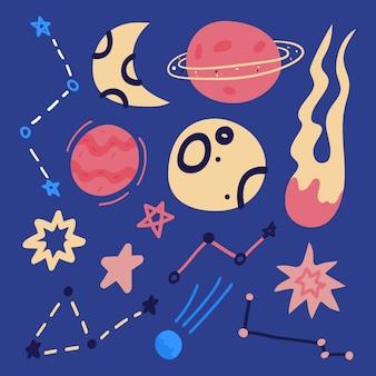 Conjunto de elemento de espacio de dibujos animados plano dibujado a mano - cohete, planetas y estrellas aislados en azul.