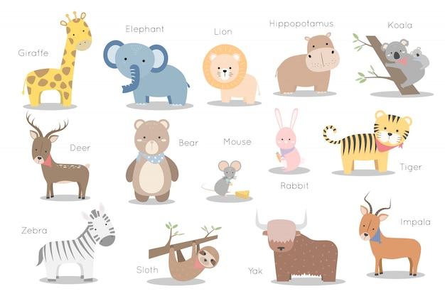 Conjunto de elemento de etiqueta lindo personaje de animales salvajes