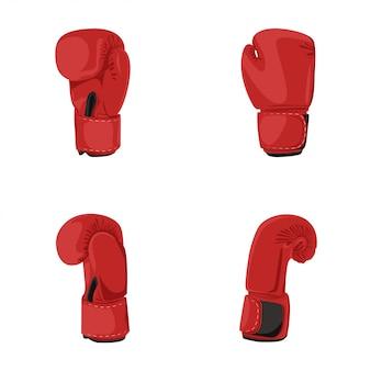 Conjunto de elemento de guantes de boxeo y diseño gráfico de stock para deporte y club con aislado